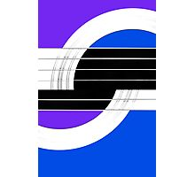 Geometric Guitar Abstract II in Purple Blue Black White Photographic Print