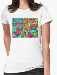 Rabbits on Vacation Womens Fitted T-Shirt