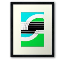 Geometric Guitar Abstract II in Turquoise Green Black White Framed Print