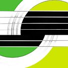 Geometric Guitar Abstract II in Green and Lime Green by Natalie Kinnear