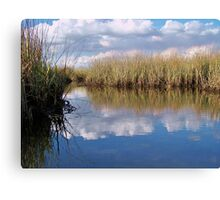 Sawgrass Water Sky and clouds 2 Canvas Print