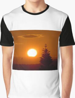 The Setting Sun, A Palm Tree and a Bird Graphic T-Shirt