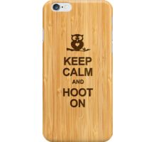 Keep Calm and Hoot On Owl in Bamboo Look iPhone Case/Skin