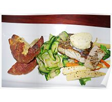 Barramundi with garlic butter and vegetables Poster