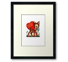 vintage cute little deer dear valentine campy tee  Framed Print