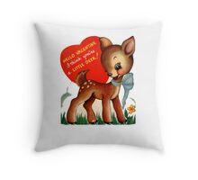 vintage cute little deer dear valentine campy tee  Throw Pillow