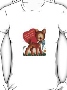 vintage cute little deer dear valentine campy tee  T-Shirt