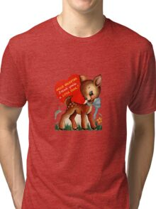 vintage cute little deer dear valentine campy tee  Tri-blend T-Shirt