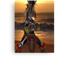 Aztec Worrior Dancing - Guerrero Azteca Bailando Canvas Print