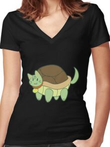 Green Cat Turtle Women's Fitted V-Neck T-Shirt