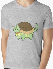 Green Cat Turtle Mens V-Neck T-Shirt