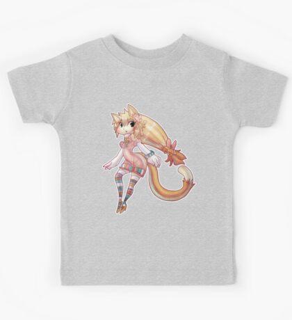 Pretty Blond Cat Girl Kids Tee