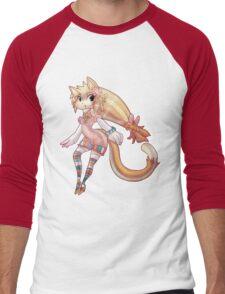 Pretty Blond Cat Girl Men's Baseball ¾ T-Shirt