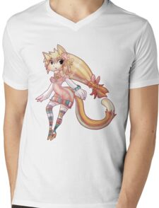 Pretty Blond Cat Girl Mens V-Neck T-Shirt