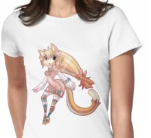 Pretty Blond Cat Girl Womens Fitted T-Shirt