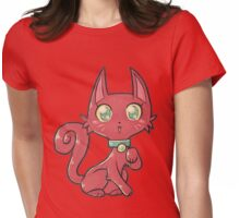 Pretty Red Kitty Cat Womens Fitted T-Shirt