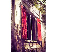 Red Shuttered Derelict Building Photographic Print