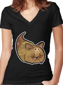 Fluffy Brown Kitty Cat Women's Fitted V-Neck T-Shirt