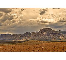Desert Landscape with Cloudy Sky Photographic Print