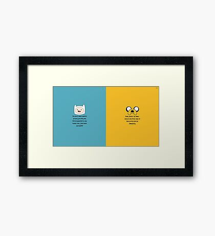 Finn and Jake quotes Framed Print