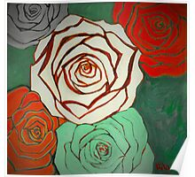 Vintage Style Christmas Roses Poster
