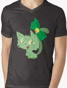 Green Kitty Mens V-Neck T-Shirt