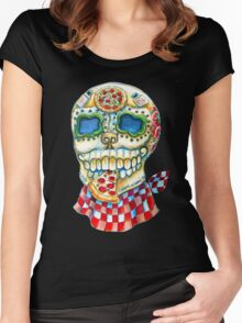 Pizza Sugar Skull Women's Fitted Scoop T-Shirt