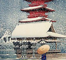 Snow at Temple, Japan by chawus