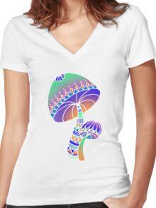 Shroom Inverted - blue/orange/green/purple Women's Fitted V-Neck T-Shirt