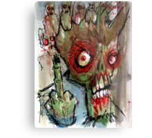 zombie gives the finger Metal Print