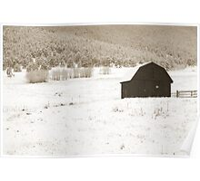 Sepia tone old barn in snow storm Poster