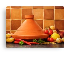 Tagine With Vegetables Seeds Fruits And Spices Canvas Print