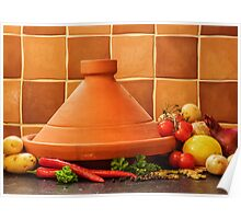 Tagine With Vegetables Seeds Fruits And Spices Poster