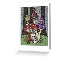 Teddy Bear And Bunny - Rainy Day Blues Greeting Card