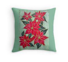 Vintage Style Poinsettias Throw Pillow