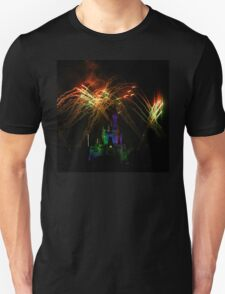 Rainbow Fireworks Over Castle at Night T-Shirt