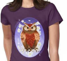 Bright Brown Owl-White Blooms Oval Womens Fitted T-Shirt