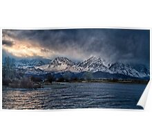 Farmers Pond Winter Sunset Poster