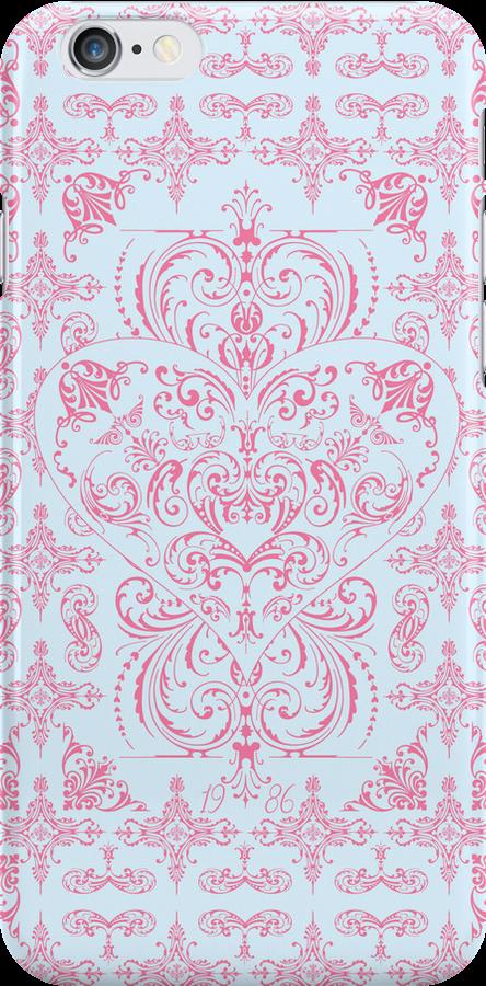 Pink Blue Elegant Lace Heart Pattern  by thejoyker1986