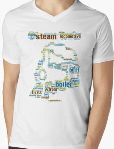 Colourful Steam Train made from Words Mens V-Neck T-Shirt