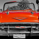 classic red vintage chevvrolet convertible by mark burban