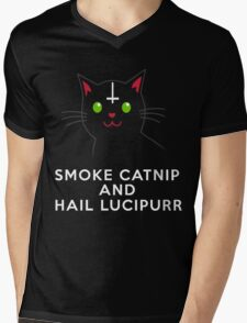 Smoke catnip and hail Lucipurr Mens V-Neck T-Shirt