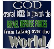 God, Beer & the IDF for Dark Backgrounds Poster