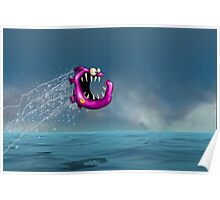 Mad Pink Fish Crazy Jump Poster