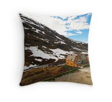 Beautiful houses in the mountains Throw Pillow