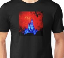 Mystical Cosmic Red Fireworks Over Castle Unisex T-Shirt
