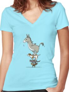 Funny animals  Women's Fitted V-Neck T-Shirt