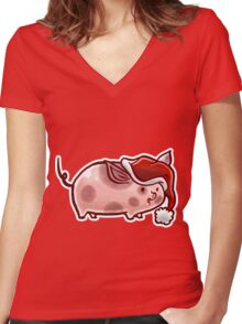Holiday Pig Women's Fitted V-Neck T-Shirt