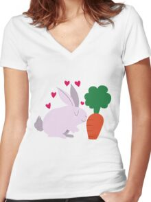 Love Bunny Women's Fitted V-Neck T-Shirt