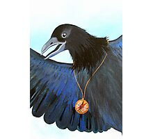 the Messenger black crow with compass painting Photographic Print